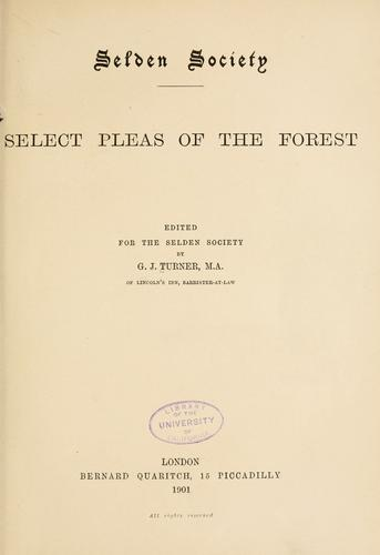 Download Select pleas of the forest.