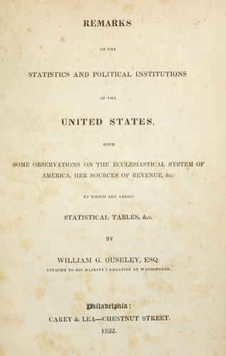 Remarks on the statistics and political institutions of the United States