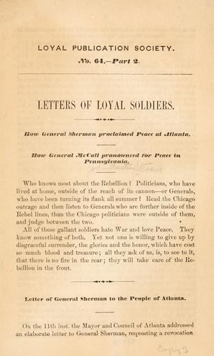 Letters of loyal soldiers.