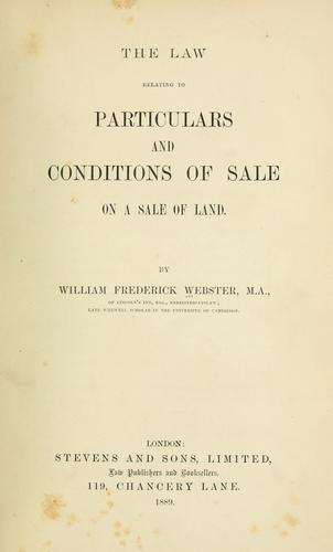 The law relating to particulars and conditions of sale on a sale of land.