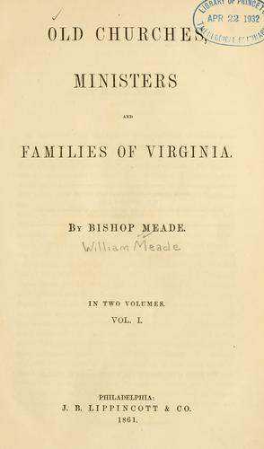 Download Old churches, ministers and families of Virginia.
