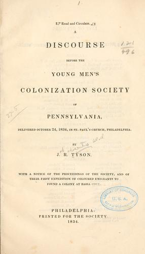 A discourse before the Young men's colonization society of Pennsylvania