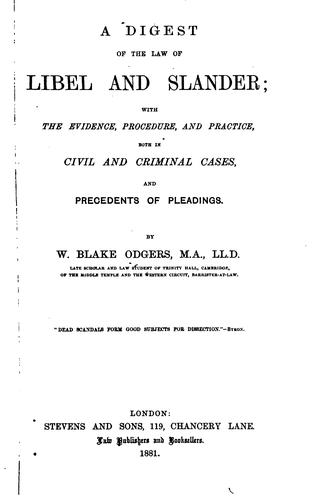 Download A digest of the law of libel and slander