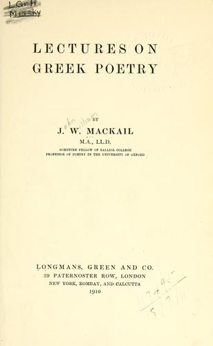 Lectures on Greek poetry.