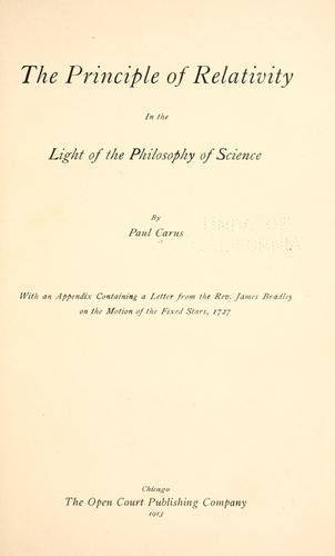 The principle of relativity in the light of the philosophy of science