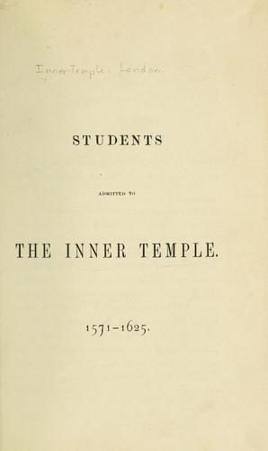 Download Students admitted to the Inner Temple, 1571-1625.