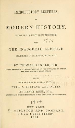 Introductory lectures on modern history