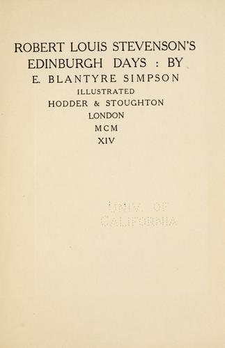 Robert Louis Stevenson's Edinburgh days.