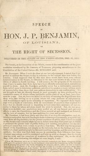 Download Speech of Hon. J. P. Benjamin, of Louisiana, on the right of secession