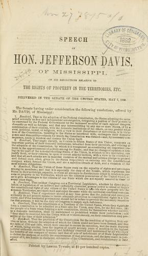 Speech of Hon. Jefferson Davis, of Mississippi