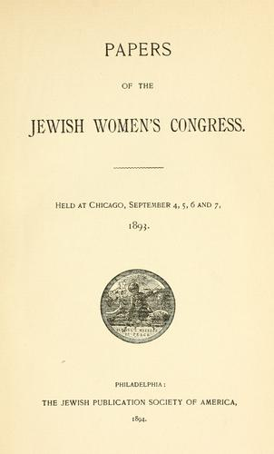 Papers of the Jewish Women's Congress