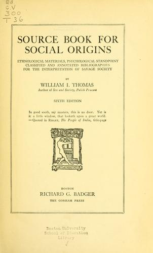 Source book for social origins