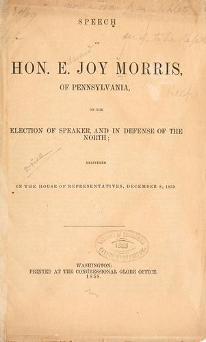 Speech of Hon. E. Joy Morris, of Pennsylvania