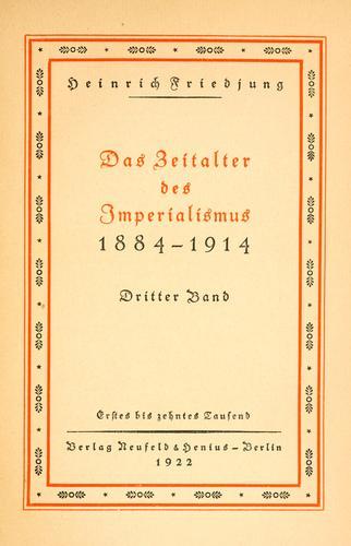 Das Zeitalter des Imperialismus, 1884-1914.
