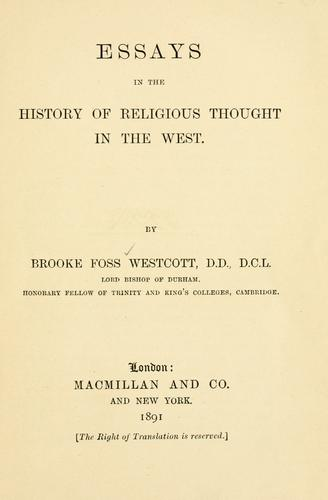 Essays in the history of religious thought in the West.