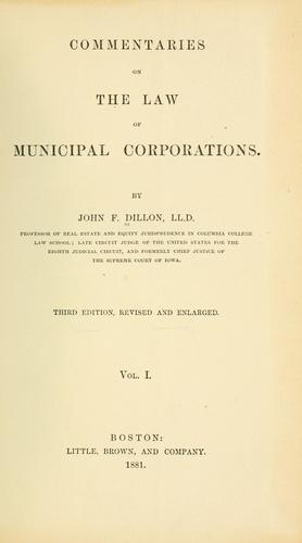 Commentaries on the law of municipal corporations.