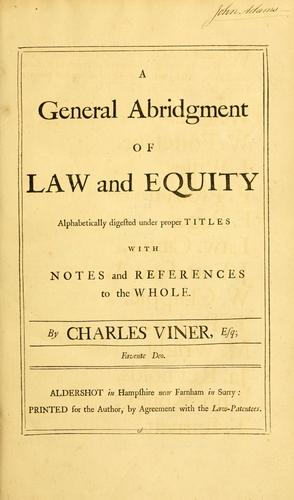 Download A general abridgment of law and equity