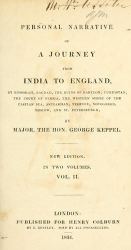 Personal narrative of a journey from India to England