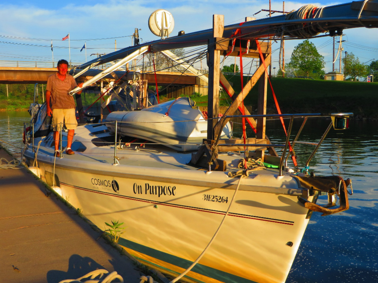 """First """"overnight"""" boat of 2017 docks in Lyons on Erie Canal"""