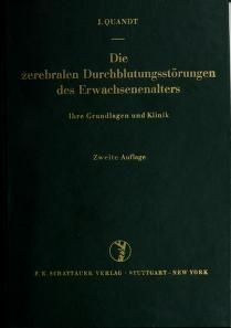 Cover of: Die zerebralen Durchblutungsstörungen des Erwachsenenalters | Jochen Quandt