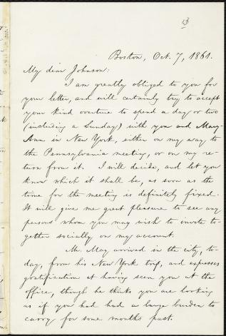 [Letter to] My dear Johnson by William Lloyd Garrison