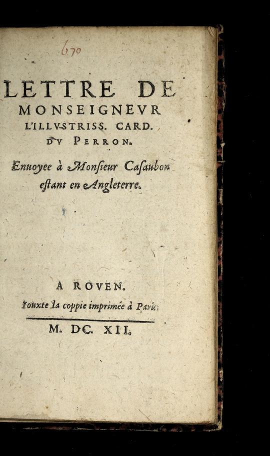 Lettre de Monseigneur l'illustriss. card. du Perron by Jacques Davy Du Perron
