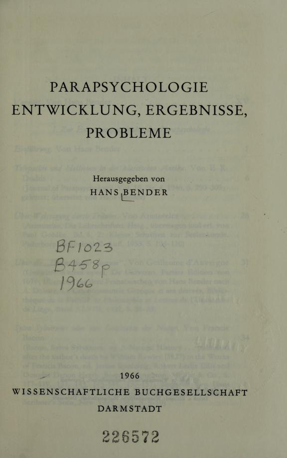 Parapsychologie by Bender, Hans