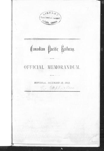 Official memorandum by Canadian Pacific Railway Company