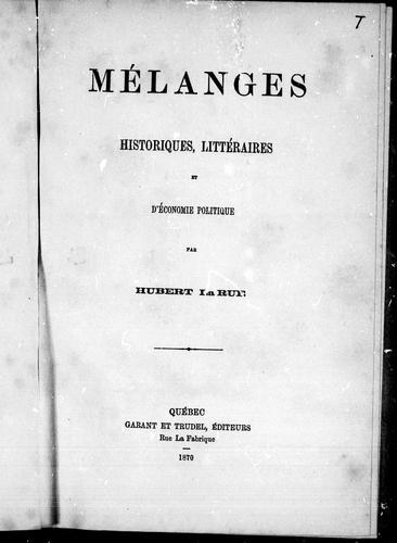 Mélanges historiques, littéraires et d'économie politique