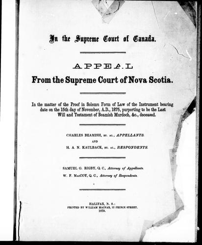 In the Supreme Court of Canada by Charles Beamish