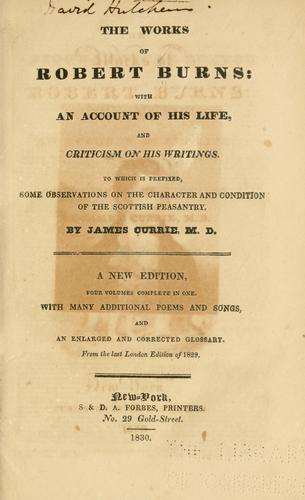 The works of Robert Burns by