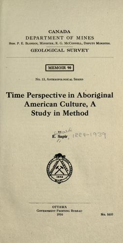 Time perspective in aboriginal American culture