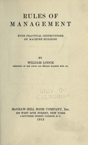 Rules of management by William Lodge