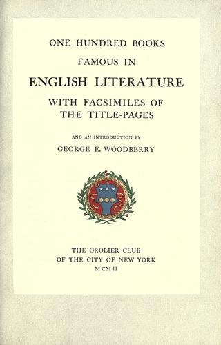One hundred books famous in English literature