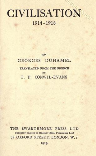 Civilisation, 1914-1918