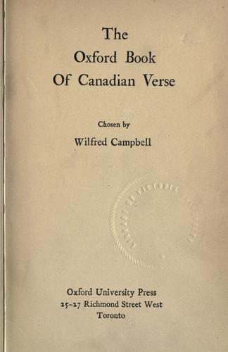 The Oxford book of Canadian verse by