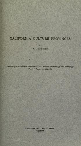 California culture provinces by A. L. Kroeber