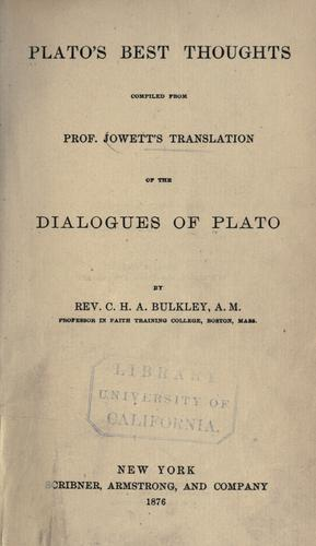 Plato's best thoughts by Plato