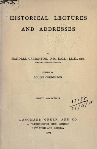 Historical lectures and addresses.