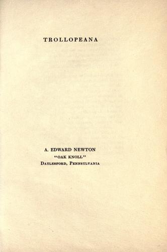 Trollopeana by A. Edward Newton