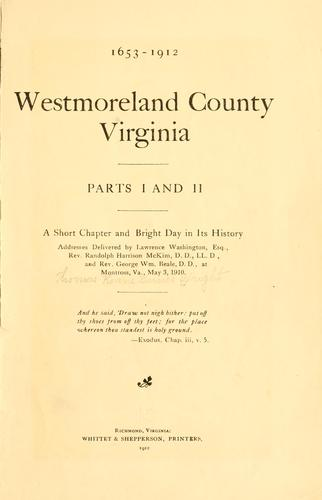 Westmoreland County, Virginia by T. R. B. Wright