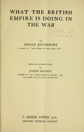 What the British Empire is doing in the war by Briggs Davenport