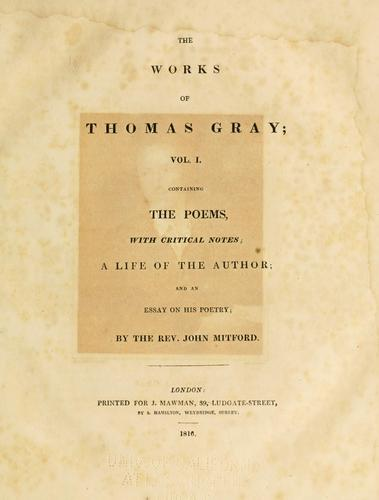 The works of Thomas Gray by Thomas Gray