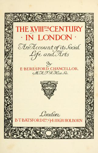 The XVIIIth century in London