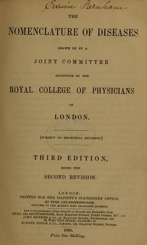 The nomenclature of diseases by Royal College of Physicians of London