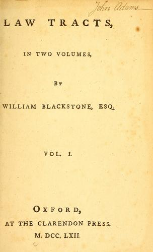 Law tracts by Sir William Blackstone