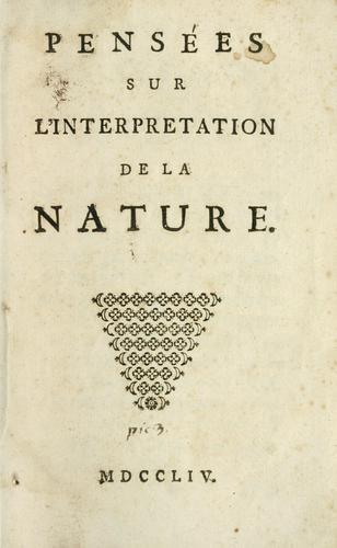 Pensées sur l'interpretation de la nature.