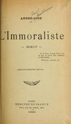 L' immoraliste, roman by André Gide