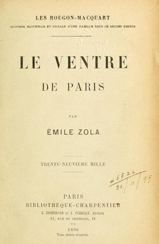 Le ventre de Paris by Émile Zola