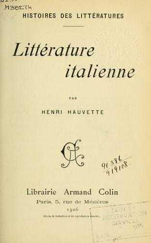 Littérature italienne by Henri Hauvette